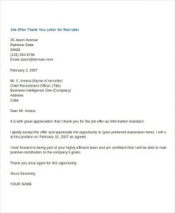 thank you letter for job offer thank you letter to recruiter after job offer