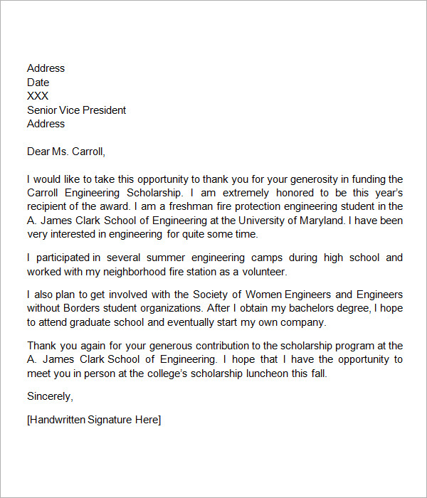 Thank You Letter For Scholarship  Template Business