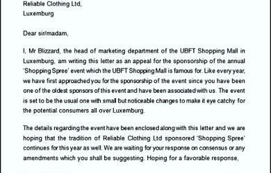thank you letter for sponsorship sponsorship appeal letter