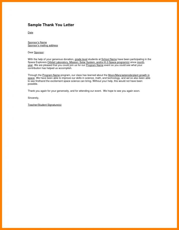 Thank You Letter For Sponsorship  Template Business