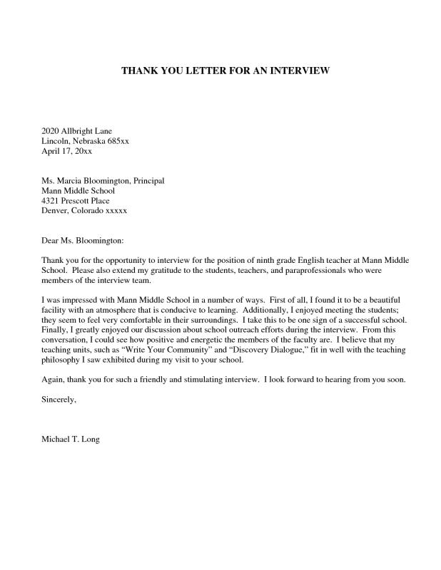 thank you letter to teacher thank you letter for template business 1653
