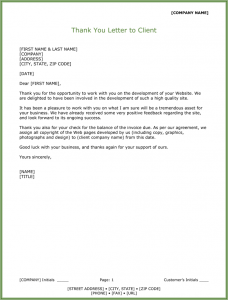 thank you letter to client for giving business client thank you letter