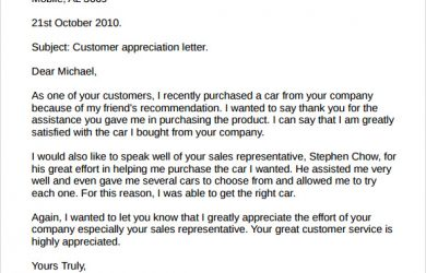 thank you letter to client for giving business customer appreciation letter