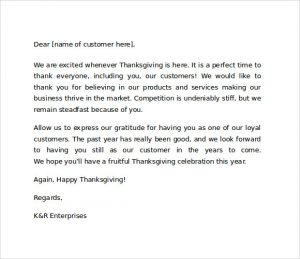 thank you letter to customer sample thank you letter to customers for business