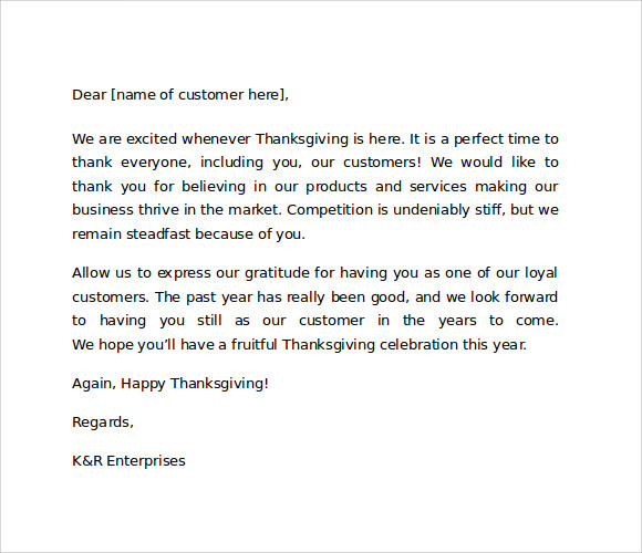 thank you letter to customer