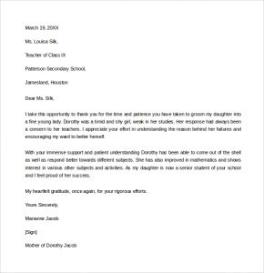 thank you letter to teacher thank you letter to teacher