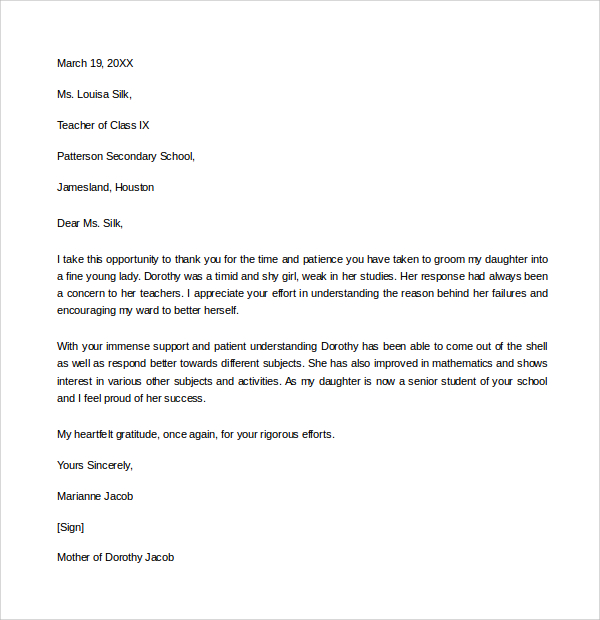 Thank You Letter To Teacher  Template Business