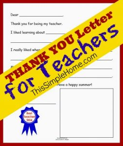 thank you letters to teachers thank you teacher letter