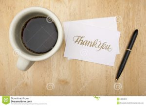 thank you note for appreciation thank you note card pen coffee