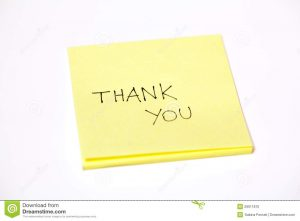 thank you note for appreciation thank you written post sticky note isolated white background