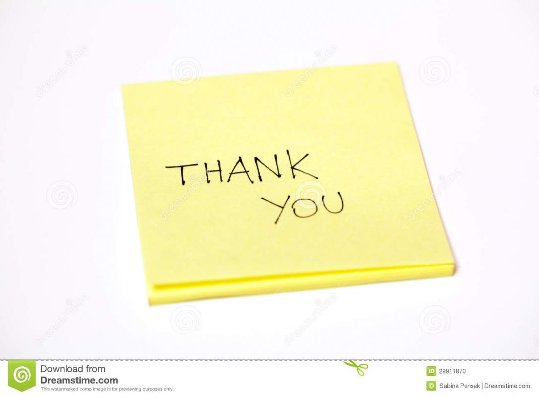 thank you note for appreciation