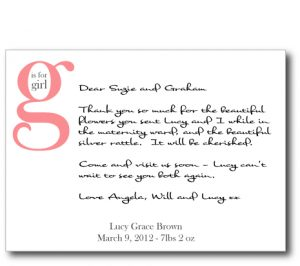 thank you note for gift g is for girl flat card