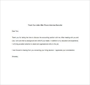 thank you note for interview thank you letter after phone interview recruiter