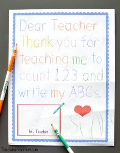 thank you note to preschool teacher preschool teacher appreciation