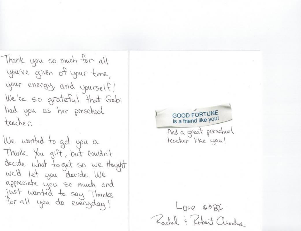 thank you note to preschool teacher