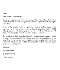 thank you scholarship letter high school scholarship thank you letter sample