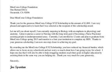 thank you scholarship letter scholarship thank you letter sample