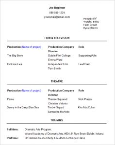 theater resume template acting resume template image