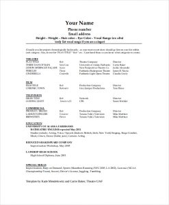 theater resume template technical theatre resume template