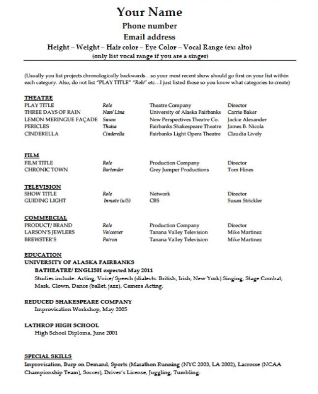 theatre resume template - Theatre Resume Template