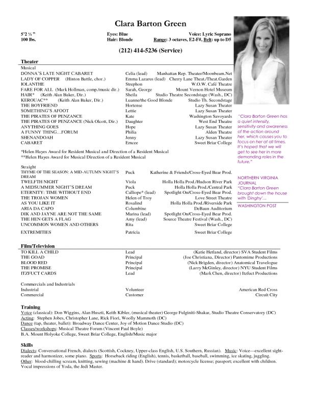 theatre resume template - Sample Musical Theatre Resume