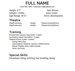 theatre resume template theater resume