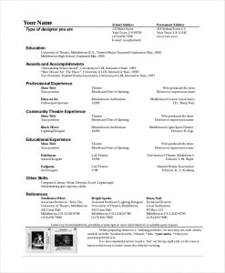theatre resume template theatre technician resume template