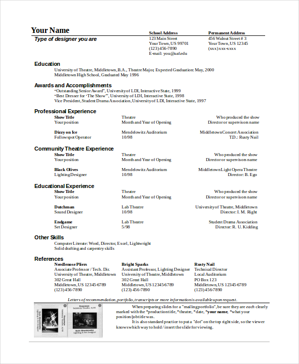 Theatre Resume Template  Musical Theatre Resume Template