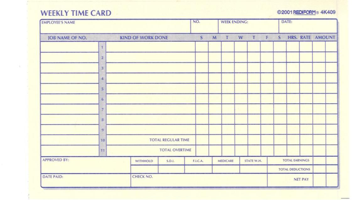 Change your time card settings under Preferences. This free time card is now highly customizable and you can change Preferences to your needs. This is a customizable time card calculator free online. You can calculate hours, pay and overtime; print timecard reports with name and date; customize for weeks, days, periods, lunch, 12 or 24 hour clock.