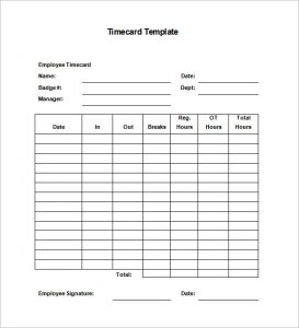 Time Card Template Free Employee Timecard Template Word Download.  Free Time Card Template