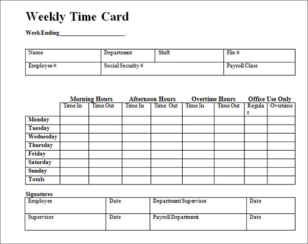 Time Card Template  Template Business