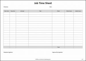 time sheets template job time sheet
