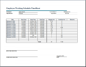timecard template excel employee working schedule timesheet