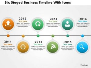 timeline template powerpoint business daigram six staged business timeline with icons presentation templets