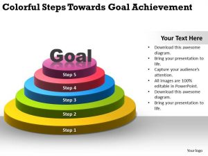 timelines for powerpoint colorful steps towards goal achievement ppt powerpoint slides slide