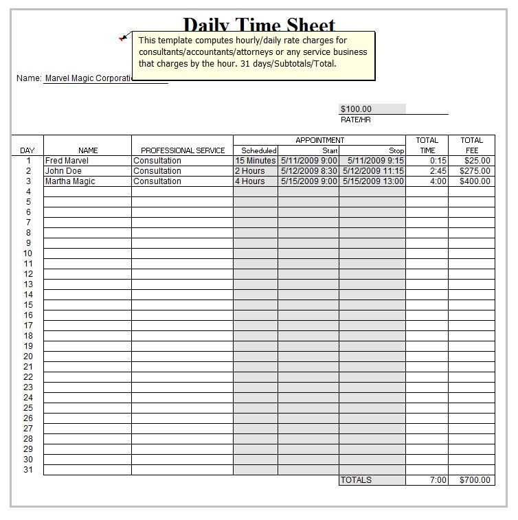 Timesheet Template Excel  Template Business
