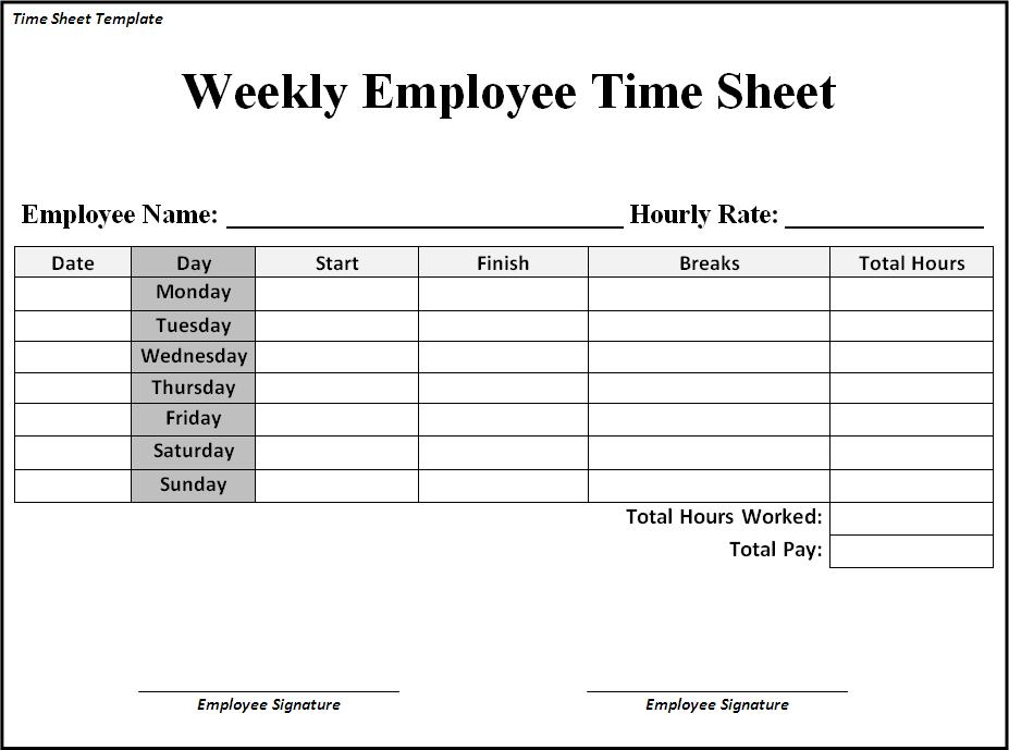 graphic relating to Free Printable Timesheets named Timesheet Template No cost Template Place of work