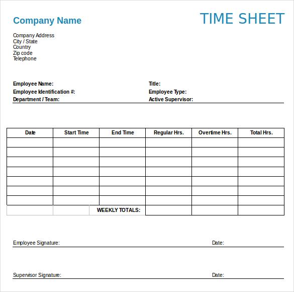 timesheet template free