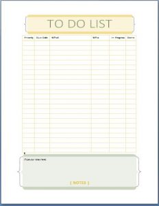 to do list template word perosnal tasks todo