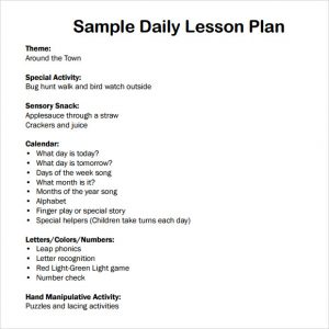 toddler lesson plan templates daily lesson plan template for preschool