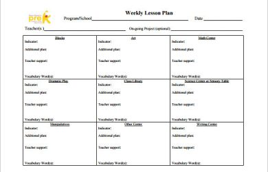 toddler lesson plan templates teachers weekly lesson plan free pdf template