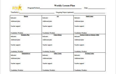 toddler lesson plan templates teachers weekly lesson plan free pdf template