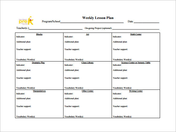 toddler lesson plan templates