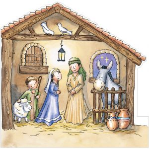 trading card design xs the nativity stable create a scene christmas card