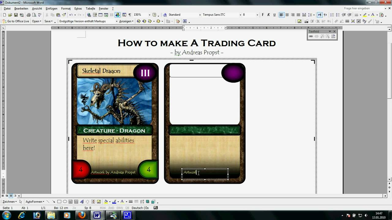Trading card template word template business for Card game template maker
