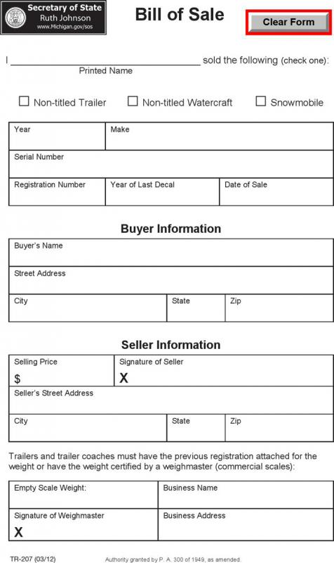 trailer bill of sale form template business