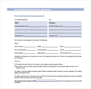 trailer bill of sale form second hand boat purchase agreement