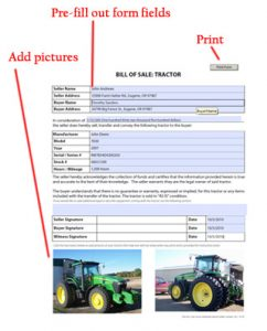 trailer bill of sale form v tractor bill of sale directions
