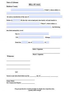 trailer bill of sale pdf baldwin county bill of sale
