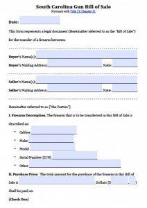 trailer bill of sale pdf south carolina gun bill of sale x